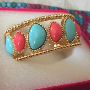 Lilly Pulitzer Coral & Turquoise Gold Cuff